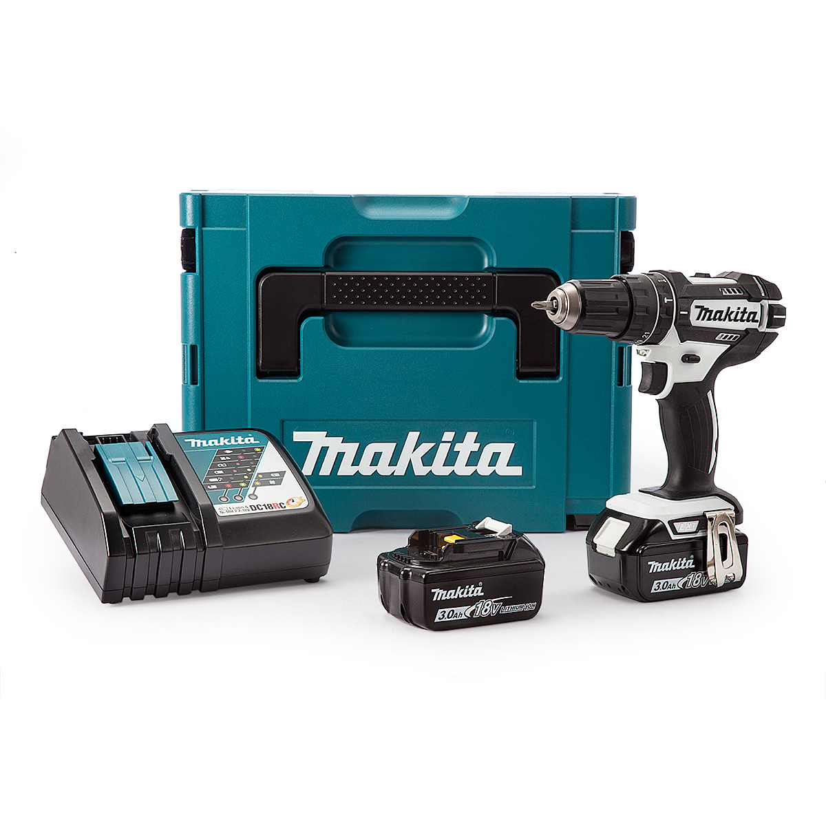 Makita 18V Li-ion Combi Drill 2x3.0ah Battery + Charger