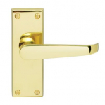 Victorian Polished Brass Lever Latch Furniture 118x43mm