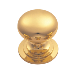 25mm Victorian Cupboard Knob (One Piece With Fixed Rose) PB