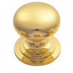 51mm Victorian Cupboard Knob (One Piece With Fixed Rose) PB