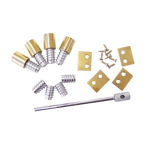 Polished Brass Sash Window Stops & Key