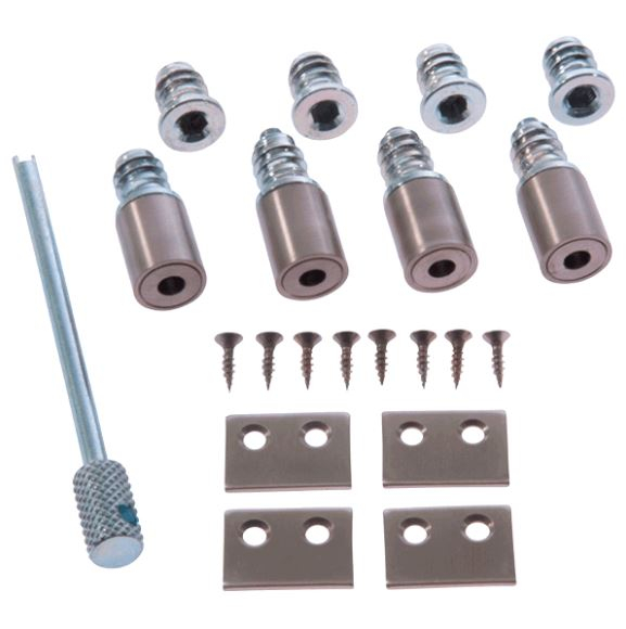Satin Nickel Sash Window Stops & Key