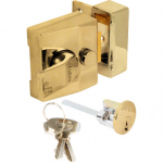 Yale Std N/latch 40mm BLX/PB Brass Body/Brass Cylinder