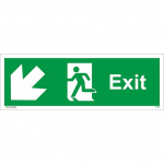 150x450mm FIRE EXIT Run MAN ARROW DOWN Left Rigid Plastic