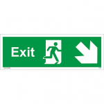 150X450mm FIRE EXIT Run Man ARROW DOWN RIGHT Rigid Plastic
