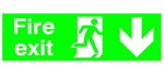 150x450mm FIRE EXIT Run Man ARROW DOWN Glo Rigid Plastic