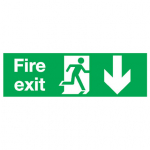 150X450mm FIRE EXIT RUNNING MAN ARROW DOWN Rigid Plastic