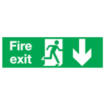 150X450mm FIRE EXIT RUNNING MAN ARROW DOWN Self Adhesive
