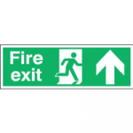 150X450mm FIRE EXIT RUNNING MAN ARROW UP Rigid Plastic