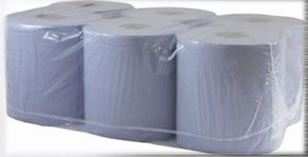 190mm Blue 2 Ply Paper Roll (6 pack) 150m